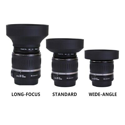 Rubber Lens Hood 3 Stage Collapsible Fr Canon Nikon Sony Pentax DSLR Camera 58mm