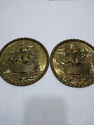 "2 Vintage Peerage England Brass Relief 6 1/2"" Wall Plate Raised Sailing Ship"