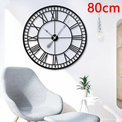 80CM LARGE OUTDOOR GARDEN WALL CLOCK BIG ROMAN NUMERALS GIANT Numerals Open