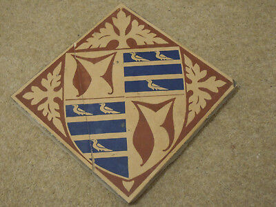 "Rare 8"" Minton Encaustic Floor Tile - St Stephen's Hall. 1850's - Barry & Pugin"
