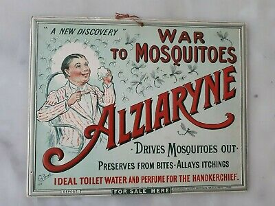 carton publicitaire ancien Alziaryne war to Mosquitoes 1916