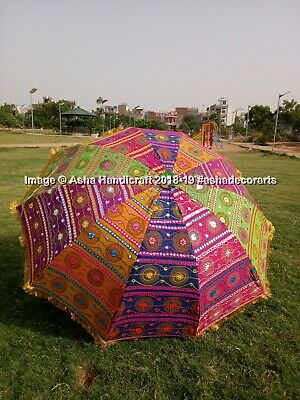 "72"" Event Wedding Decorative Large Umbrella Gold Lace Embroidery Outdoor Parasol"