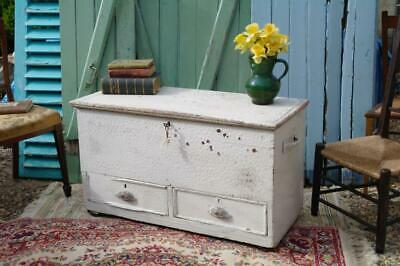 Large Victorian Rustic Pine Trunk Chest With Two Drawers, Beautifully Aged Paint