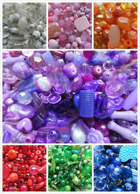 Mixed Acrylic Beads 7 Colours Various Shapes & Sizes For Jewellery Craft Making