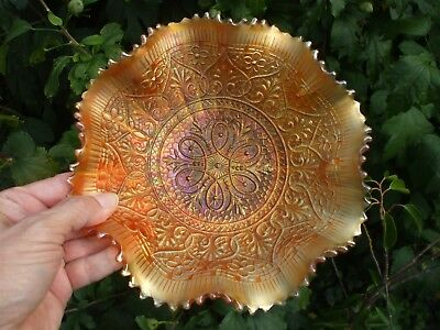 Carnival Glass.Northwood Dark Marigold Hearts And Flowers Bowl.STUNNING PIECE..