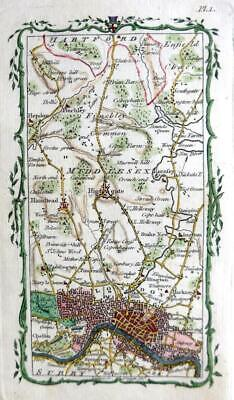 MIDDLESEX  SURREY LONDON HAMPSTEAD ROAD MAP BY ARMSTRONG  c1776 GENUINE ANTIQUE