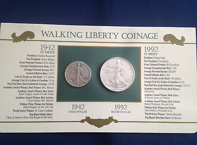 1942-1992 Walking Liberty Half Dollar American Silver Eagle Collection  E5380