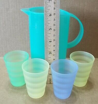 Tupperware Impressions Light Green Mini Pitcher #3535 & 4 Toy Tumblers #4080.