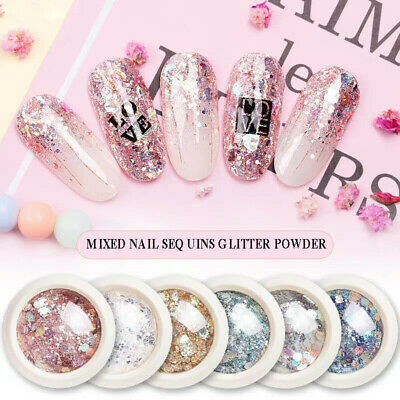Charms Sequins Broken 3D Flakes Nail Art Decor Mixed Dust Glitter Powder