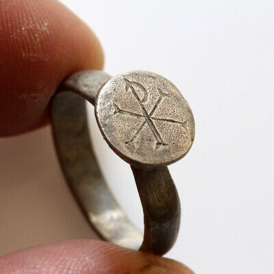Museum Quality Byzantine Silver Ring With Christogram Ca 700-1000