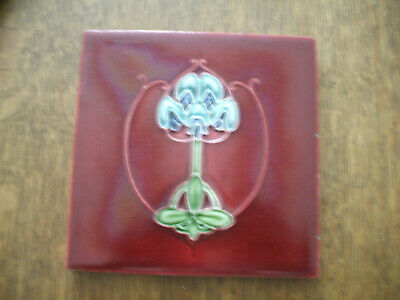 RARE RUBY RED ART NOUVEAU TILE BY T.A. SIMPSON c1905 RELIEF-MOULDED