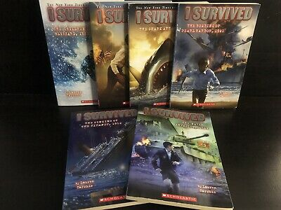 I Survived Books by Lauren Tarshis Lot 6 Titanic Shark Attack Paperback