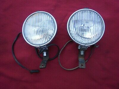 "2 X Very Good  Vintage-Fog/ Spot Lights ""Lucas""-Chrome With Fittings--Vgc"