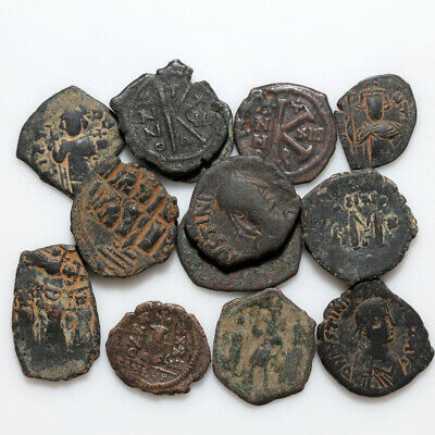 Top Lot Of 15 Uncertain Byzantine And Arab Byzantine Bronze Coins