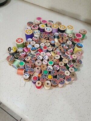 Lot Of 145Vintage Wooden Spools =All With Thread Most Are Coats And Clarks
