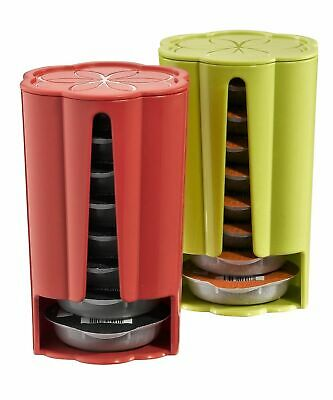 2 x Tassimo Koziol Stack T Disc Pod Holders - Each Holds 8 Discs Green & Red NEW