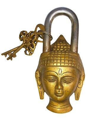Antique Vintage Style Brass Handcrafted Buddha Shape 2 Key Padlock Collectible