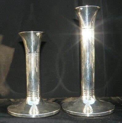 A Rare Pair Of Modernist Arts & Crafts Design Sterling Silver Candlesticks