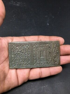17th C Ancient Old Bronze Hand Engraved Indian Jewelry 3 Design Mold Die