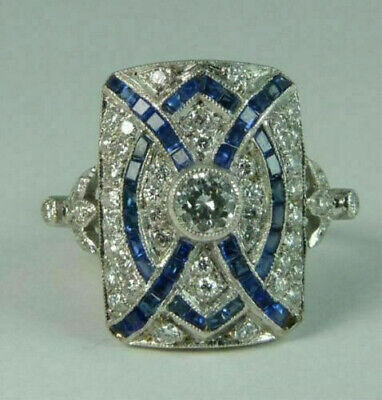 Vintage Art Deco Engagement Wedding Ring Diamond & Sapphire 925 Sterling Silver