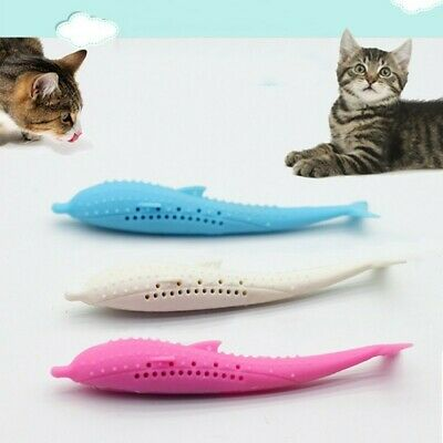 Pet Interactive Cat Mint Toothbrush Molar Stick Cleaning Teeth Silicone Toys NEW