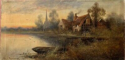 Jamieson - Antique Signed Oil - Sunset River Landscape - Houses & Wooden Punt