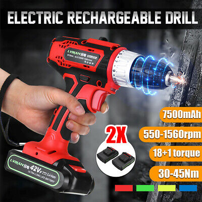 2Speed Electric Cordless Drill Driver Screwdriver Impact Drivers W/ 2Batteries