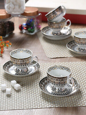 GOODHOMES Bone China Cup Saucer Set with 24kr Real Gold Print 12 pcs Set