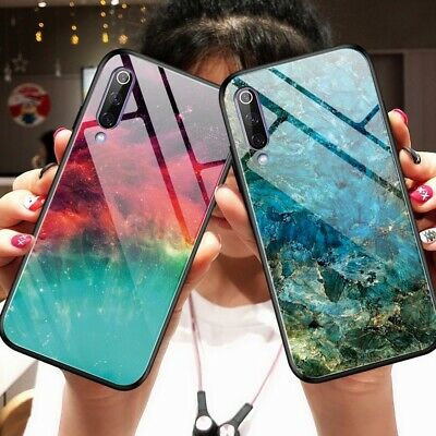 For Xiaomi Mi 9T Pro 9 SE Luxury Glossy Marble Tempered Glass Hybrid Back Case