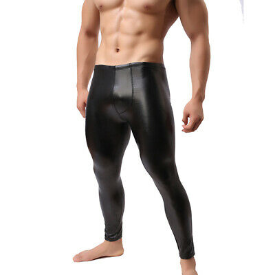 Gay Mens PVC Wet Look Trousers Leggings Club Wear Tight Fit Faux Leather Pouch