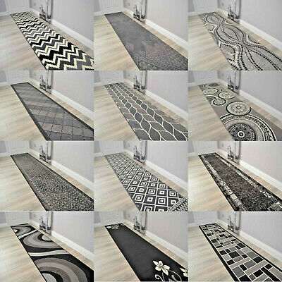 Black Grey Silver Extra Long Very Wide Narrow Hall Hallway Runner Rugs Small Mat