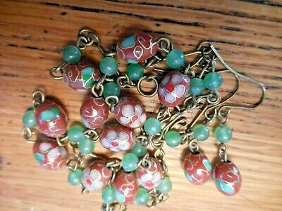 VTG Cloisonne & Jade 'Chinese Export' Art Deco Smooth Enamel Necklace Earrings