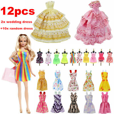 Fashion Casual Party Dress Wedding Gown For Barbie Dolls 12pcs/set Girls Gift ~