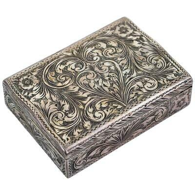 ANtique Art Nouveau Sterling Silver Compact Floral Embossed Box Powder