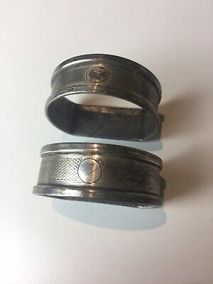 Pair Of Antique English Silver Nakpin Ring Hall Marked H G &S birmingham N