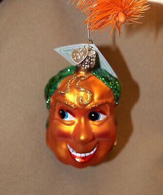 Old World Christmas Funny Face PUMPKIN Ornament JOL Handblown GLASS OWC