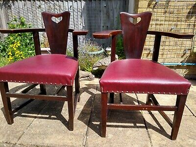 GEORGE HENRY WALTON PAIR OF ABINGWOOD CHAIRS WITH RESTORED SEATS 1890s