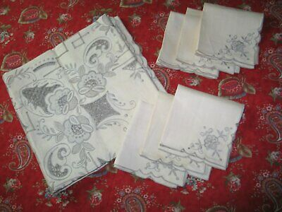 Vintage Tablecloth & 6 Napkins-Antique MADEIRA UNUSED Hand Embroidery