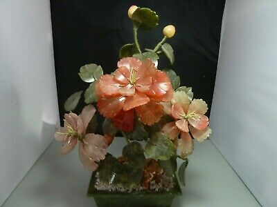 Oriental Bonsai Tree Japanese Chinese Asian Jade Glass Flowering Blossom Display