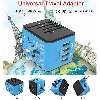 Worldwide International Universal Travel Adapter 4 USB Charger AC Power Plug