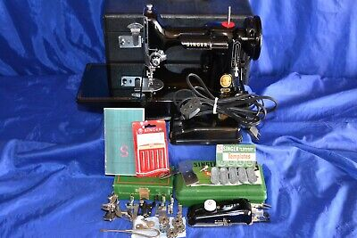 Singer Featherweight 221 Sewing Machine 1957 New Case Attachments Serviced