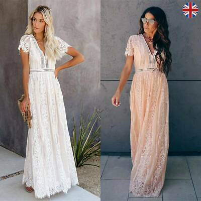 Womens Plain Lace Maxi Dress Ladies Summer Beach Party Boho Holiday Long Dress