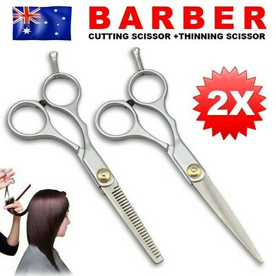 2Pcs Pro Hairdressing Cutting Scissors Thinning Salon Barber Shears Set 6 Inches