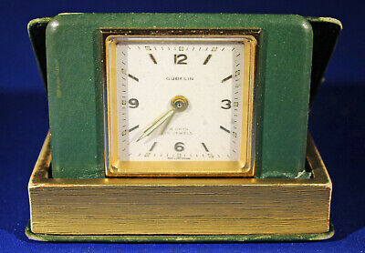 Vintage Gubelin 8 Day Travel Alarm Clock 15 Jewel Movement Swiss Made