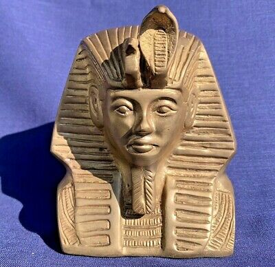 Antique Handcarved Solid Brass Egyptian Head Figures Ancient King Tutankhamun