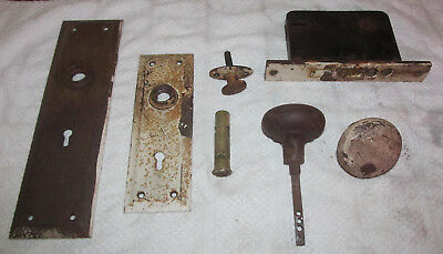Antique Russwin Metal Lock Entry Door Hardware Backplate Knobs Vintage