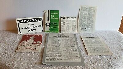 Lot Vintage Hang Tag Instructions Recipes Service Info Komet Ames West Bend GE