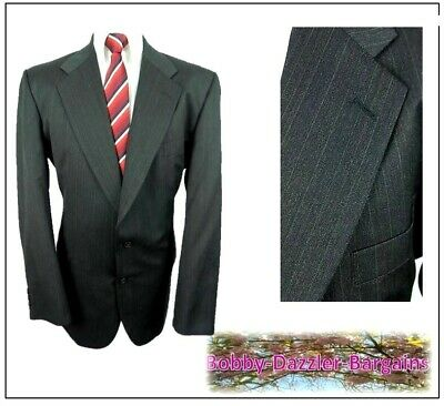 """Marks & Spencer Mens 2 Button suit Jacket Ch46""""R Charcoal pinstripe Vintage"""