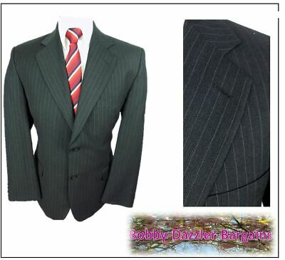"""Marks & Spencer Mens 2 Button suit Jacket Ch40""""S Charcoal pinstripe Vintage"""