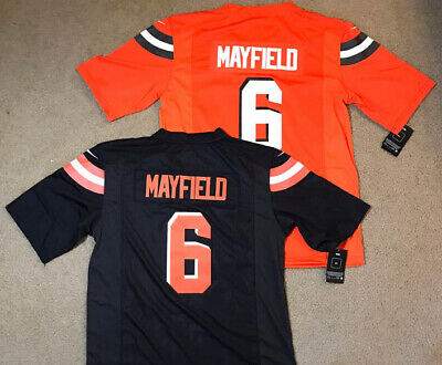 online store 0f1d5 98021 BAKER MAYFIELD #6 Cleveland Browns Mens Black Jersey